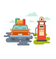 Refuel Car at Gas Station vector image