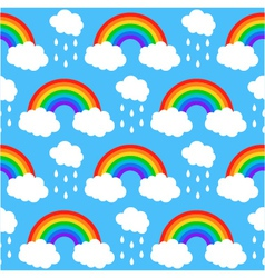 seamless pattern with rainbows and clouds on a blu vector image
