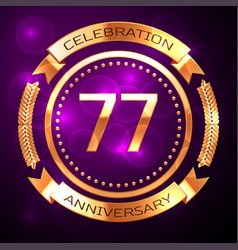seventy seven years anniversary celebration with vector image vector image