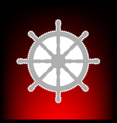 Ship wheel sign postage stamp or old photo style vector