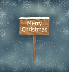 Snow covered wooden sign merry christmas vector
