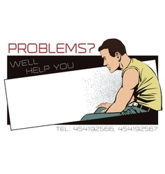 Upset man template ads rehabilitation center vector