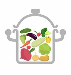 Vegetables in a saucepan logo for vegetarian menu vector