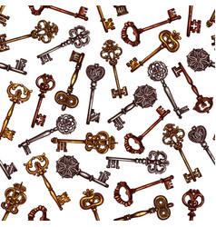 vintage brass keys seamless pattern vector image vector image