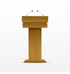 Wood Podium Tribune Rostrum Stand with Microphone vector image