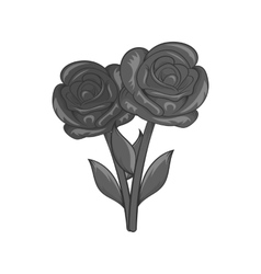 Flowers on grave icon black monochrome style vector