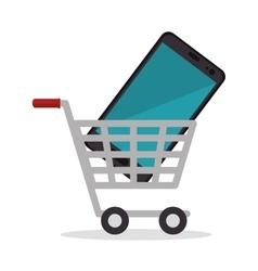 shop cart smartphone design icon vector image