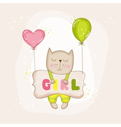 Baby girl cat with balloons - baby shower card vector