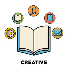 Book and icons design vector