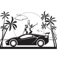 two girls enjoying sunset on the roof of car vector image