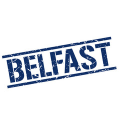 Belfast blue square stamp vector