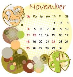 2012 calendar november vector image