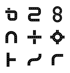 Black road elements icons set vector