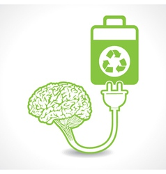 Creative brain idea symbol charged by eco battery vector