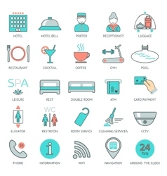 25 line hotel services icons logo glyphs and vector