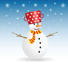 Snowman with snowflake color vector