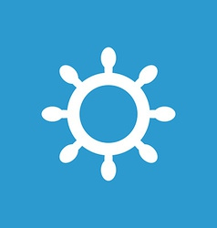 Ship wheel icon white on the blue background vector