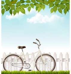 Bicycle in front of a white fence with green vector