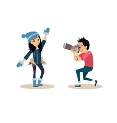 Photographer and girl with skates in flat style vector