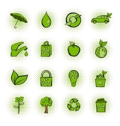 Eco comics green icons set vector