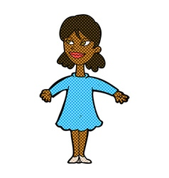 Comic cartoon woman with open arms vector