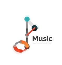Music note logo flat thin line geometric design vector