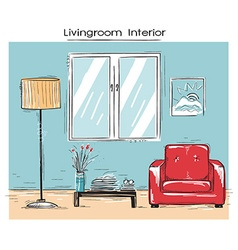Sketchy of livingroom interior color hand dr vector image