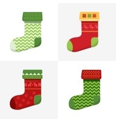 Flat winter christmas socks set vector