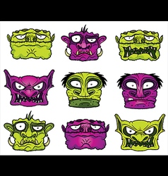 halloween scary zombie heads vector image