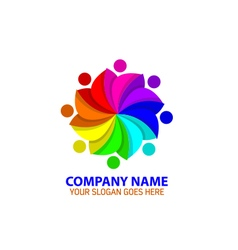 Colorful people rotation logo icon graphic vector