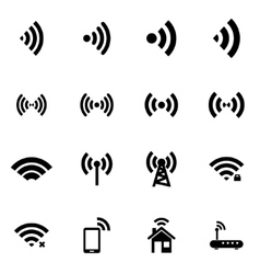 Black wireless icon set vector