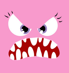 Angry pink monster close up vector