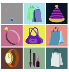 Assembly flat icons accessories vector