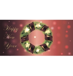 Banner for christmas and new year with wreath vector