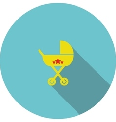 Children icon yellow baby carriage vector