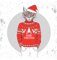 Christmas hipster fashion animal cat vector