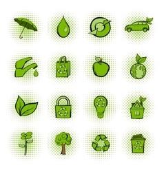 Eco comics green icons set vector