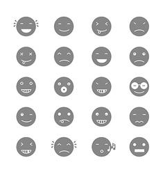 Emoticons Collection Set of Emoji Flat monochrome vector image vector image