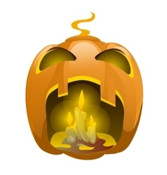 Face carved from pumpkin and burning candles vector