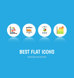flat icon chart set of infographic easel vector image