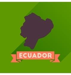 Flat icon with long shadow ecuador map vector