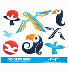 funny cartoon birds collection vector image