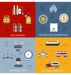 Gas industry flat icons composition vector