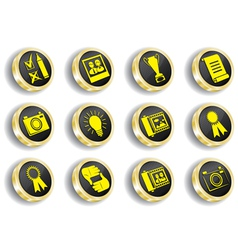 golden web icon set vector image vector image