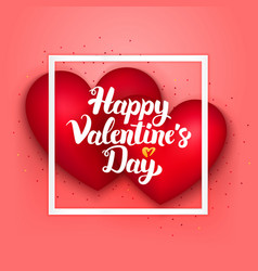 happy valentines day pink card vector image vector image