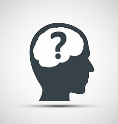 Icon of human head with a question mark vector