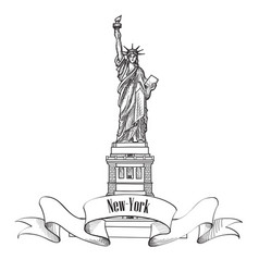 liberty statue new york city usa travel usa symbol vector image vector image