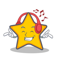 Listening music star character cartoon style vector