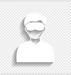 Man with sleeping mask sign white icon vector