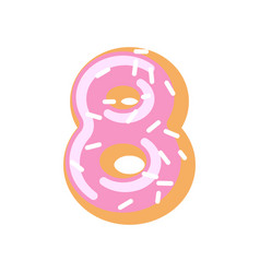 number 8 donut doughnut font sweet alphabet candy vector image